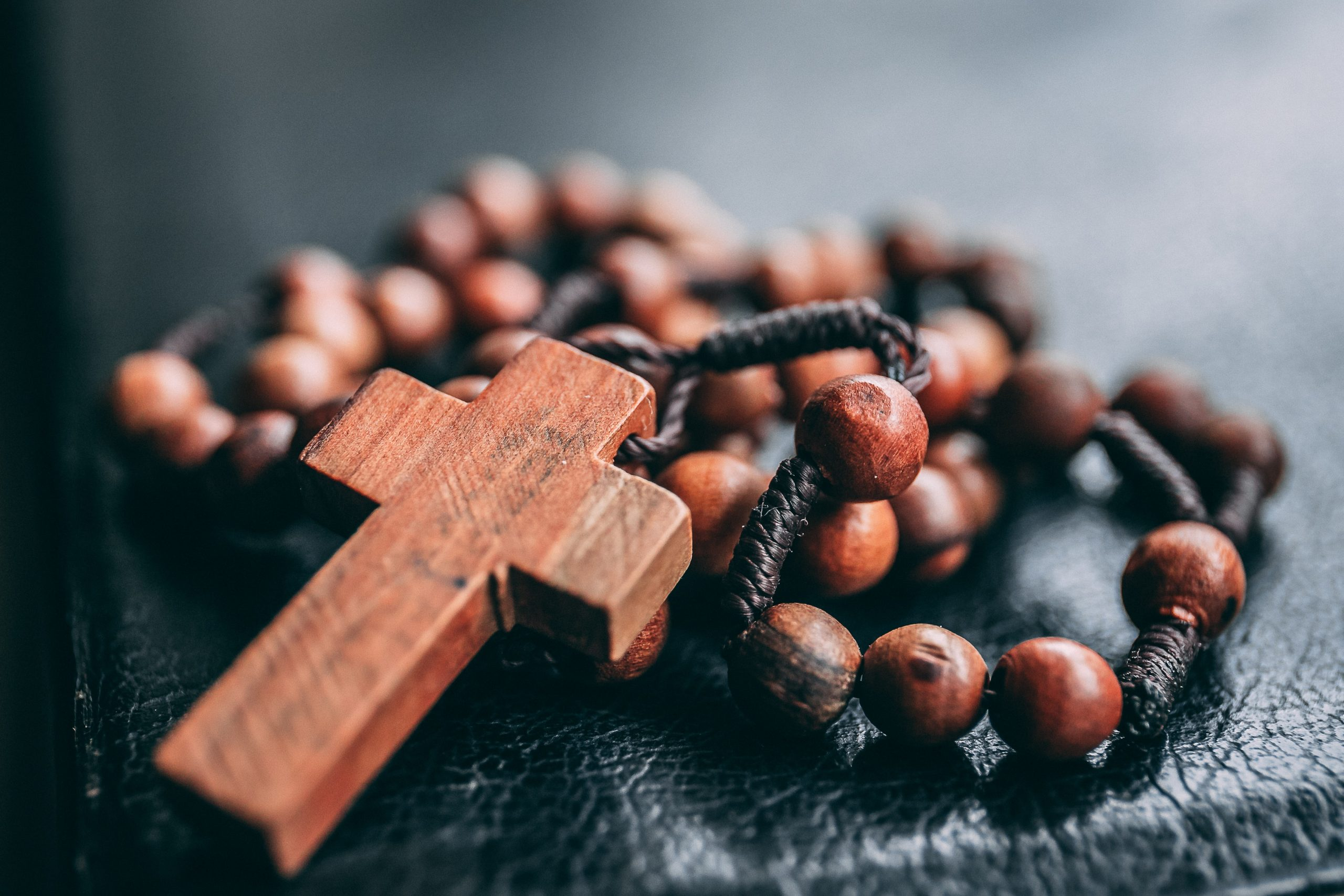 Upclose photo of a rosary
